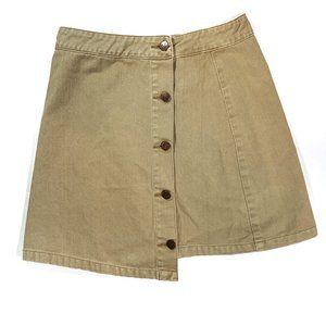 MinkPink Tan Button Front Asymmetrical Hem Skirt